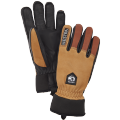 Army Leather Wool Terry 5 Finger Brown