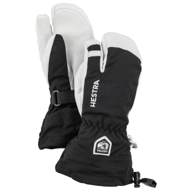 Hestra Army Leather Heli Ski 3 Finger Junior Black